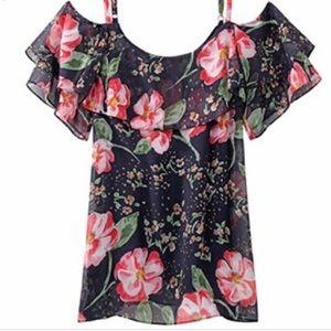 Cabi Floral cold shoulder top